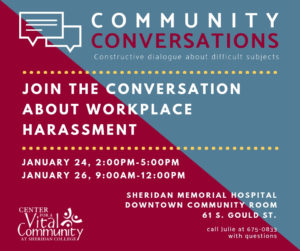 Community Conversations - Workplace Harassment @ Sheridan Memorial Hosp, Downtown Community Room