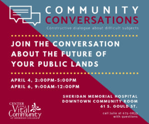 Community Conversations on Public Lands @ Sheridan Memorial Hospital Downtown Community Room