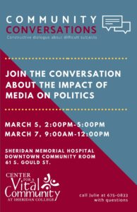 Community Conversations - the role of media in politics @ Hospital Community Room
